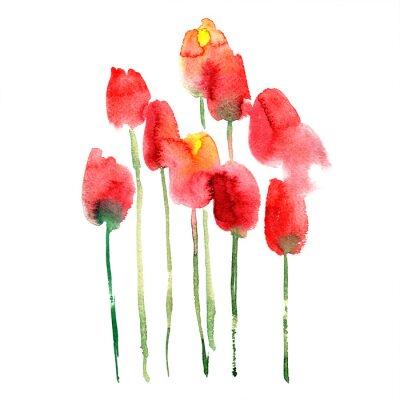 Adesivo Aguarela pintada à mão em tulipas vermelhas e amarelas