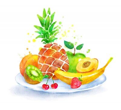 Adesivo Ainda vida com fruta no prato.