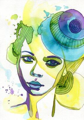 Adesivo Akwarelowy portret kobiety