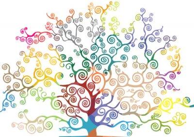 Adesivo albero con rami CURVI e colorati