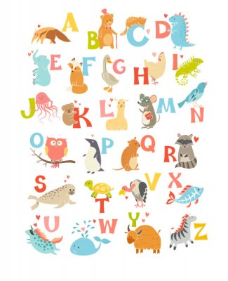 Adesivo Alfabeto bonito do jardim zoológico do vetor. Animais engraçados dos desenhos animados. Ilustração EPS10 isolado no fundo branco. Cartas. Aprenda a ler
