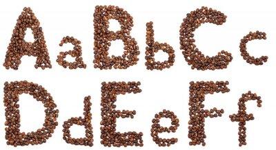 Adesivo Alfabeto, café, feijões, isolado