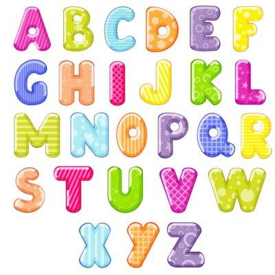 Adesivo Alfabeto dos desenhos animados
