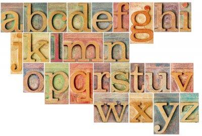 Adesivo alfabeto em tipografia tipo de madeira