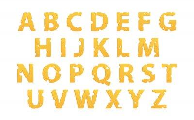 Adesivo Alfabeto, feito, queijo