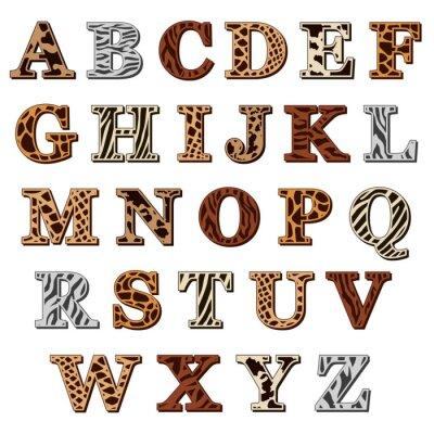 Adesivo Alfabeto latino com animal print