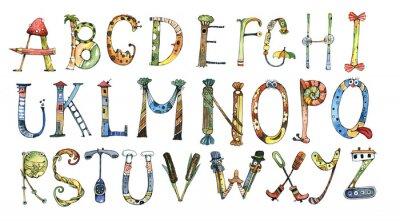 Adesivo Alfabeto, letra, aguarela
