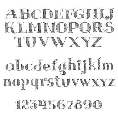 Adesivo Alfabeto letras fonte com cross-hatching
