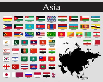 Adesivo All flags of Asia. Vector illustration. World flags