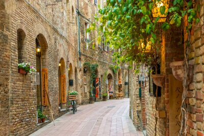 Adesivo Alley in old town San Gimignano Tuscany Italy