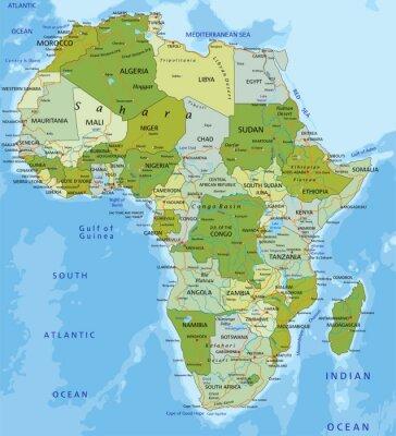 Adesivo Altamente detalhado mapa político editável. África.