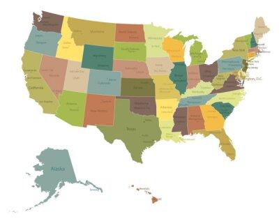Adesivo Altamente detalhados políticos EUA map.Layers usados.