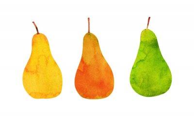 Adesivo amarelo, laranja, peras verdes isolado