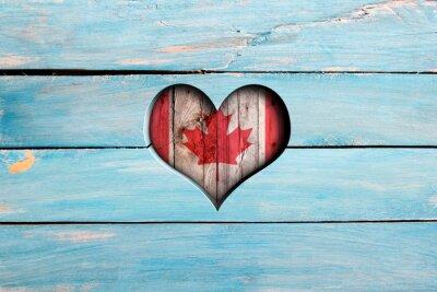 Adesivo Amor Canadá. Coração, bandeira, azul, madeira, tábua