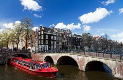 Adesivo Amsterdam, canal, interseção, vermelho, cruzeiro, bote, verão, azul, céu