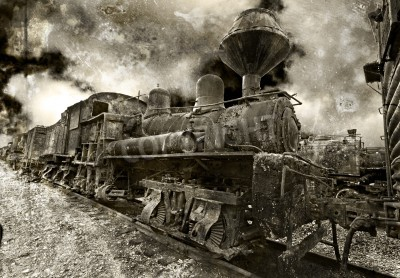 Adesivo An old rusting vintage steam locomotive