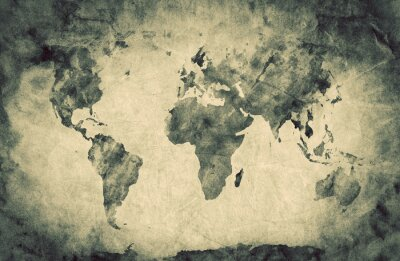 Adesivo Ancient, old world map. Pencil sketch, vintage background