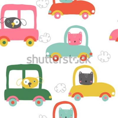 Adesivo Animais engraçados no padrão sem emenda de carros. Impressão de lindos filhos. Vetorial mão ilustrações desenhadas.