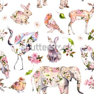 Adesivo Animais fofos em flores da primavera rosa. Teste padrão floral sem emenda. Aguarela feminina, feminino
