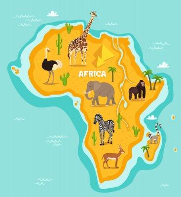 Adesivo Animais selvagens africanos ilustração do vetor dos animais selvagens. Africano, fauna, avestruz, girafa, elefante, macaco, zebra, lemur, antílope, caricatura, estilo. Africano, continente, azul, oceâ