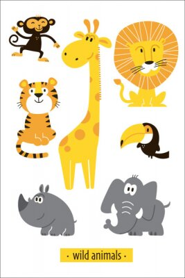 Adesivo Animals vector set. Cartoon Monkey, giraffe, lion, hippo, elephant, tiger, toucan pirate. Perfect for wallpaper,print,packaging,invitations,Baby shower,birthday party,patterns,travel,logos etc