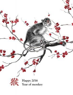 Adesivo Ano do cartão do macaco. Um macaco que senta-se em uma filial da flor de cerejeira, pintura oriental da tinta. Com o chinês