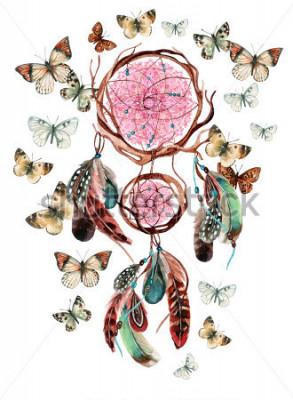 Adesivo Apanhador de sonhos com penas e mandala. Dreamcatcher étnico e borboleta de aquarela isolada no fundo branco. Ilustração de pintados à mão para seu projeto