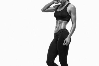 Adesivo Aptidão Mulher desportiva que mostra seu corpo bem treinado