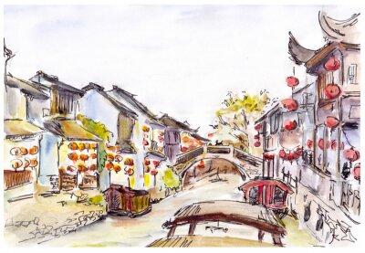Adesivo Aquarela - Canal de água na Cidade Velha na China. Lanternas vermelhas.