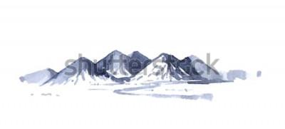 Adesivo Aquarela de montanhas de desenho