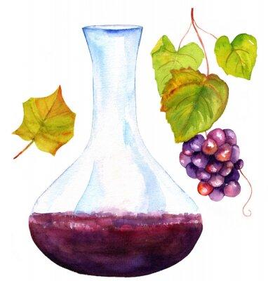 Adesivo Aquarela, desenhos, vinho, decantador, videira, folha, uvas