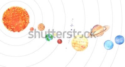 Adesivo Aquarela do sistema solar. Sun e planetas (mercúrio, Vênus, terra, Marte, Júpiter, Saturno, Urano, Netuno) sobre fundo branco.
