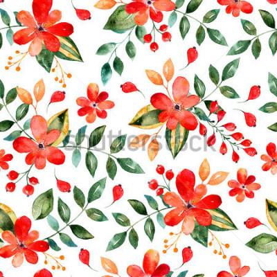 Adesivo Aquarela floral padrão sem emenda com flores e folhas vermelhas. Ilustração floral colorida. Outono ou verão mão feita design para convite, casamento ou cartões, pode ser usado para papéis de parede