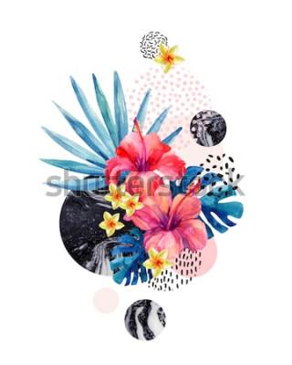 Adesivo Aquarela flores tropicais em fundo geométrico com marmoreio, doodle texturas. Mão desenhada flor com palmeira, monstera folhas, formas geométricas em estilo minimalista. Aquarela arte ilustração