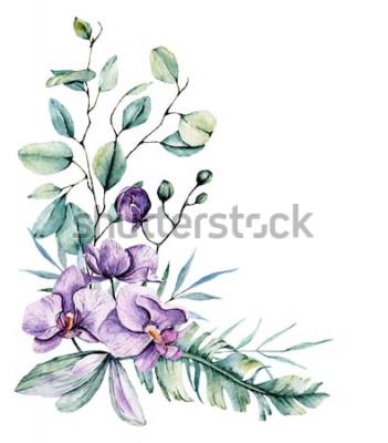 Adesivo Aquarela flores tropicais, fronteira com folhas e orquídeas. Pintura botânica, arranjo para cartão de casamento, saudações, fundos, convite, blog etc. isolado no branco.