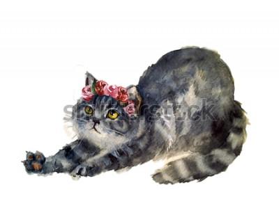 Adesivo Aquarela gato fofo com flores