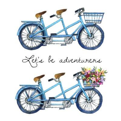 Adesivo Aquarela ilustração de um conjunto de bicicletas