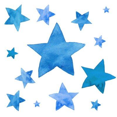 Adesivo Aquarela ilustração do conjunto de estrelas azuis