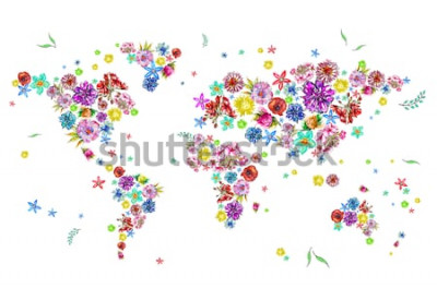 Adesivo Aquarela ilustração do mapa do mundo em flores