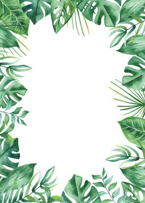 Adesivo Aquarela moldura com folhas tropicais e flores, manchas de aquarela. Padrão de ouro, redondo, poligonal para cartões, convites, casamento e projetos de verão.
