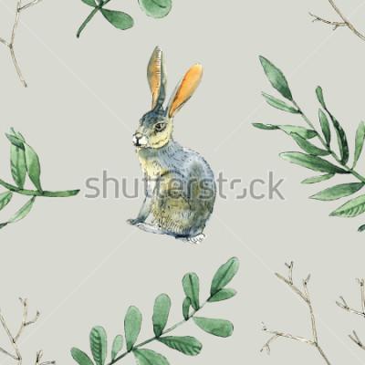 Adesivo Aquarela sem costura padrão com coelhos, folhas e ramos serão bons para embrulho, design de caixas, site e cartões de fundo e etc.