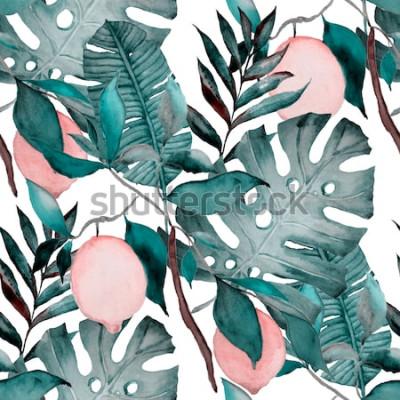Adesivo Aquarela sem costura padrão com folhas tropicais e frutas cítricas. Impressão botânica de moda.