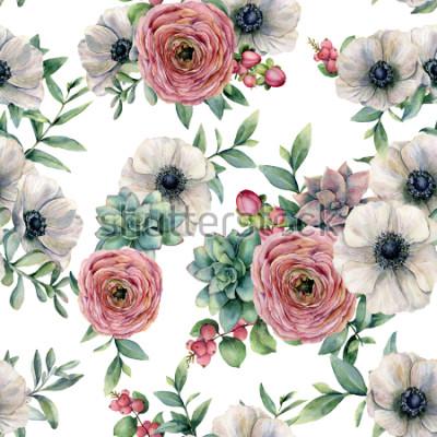 Adesivo Aquarela sem costura padrão com suculentas, ranúnculo, anêmona. Flores pintados à mão, folhas do eucaliptus e ramo suculento isoladas no fundo branco. Ilustração para design, impressão ou plano de fun