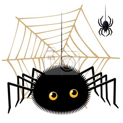Aranha Dos Desenhos Animados Olhando Uma Tarantula Em Teia De
