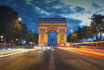 Adesivo Arc de Triomphe. Image of the iconic Arc de Triomphe in Paris city during twilight blue hour.