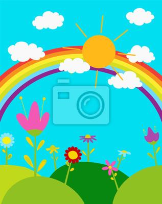Arco Iris No Ceu Sol E Nuvens Brancas Flores Bonitos Dos