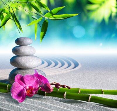 Adesivo areia, orquídeas e massagens pedras no jardim zen