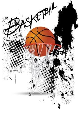 Adesivo Aro de basquetebol no fundo branco grunge