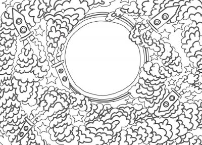 Adesivo Around the Moon (ilustração vetorial)
