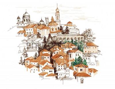 Adesivo Arquitectura da cidade da aguarela com ilustração das casas.